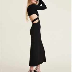 LPA The Label 80s Cutout Maxi Slit Dress Black 2/4